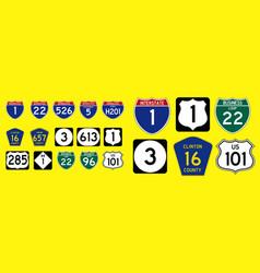 set usa street sign vector image