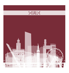 Seville white transparent skyline silhouette vector