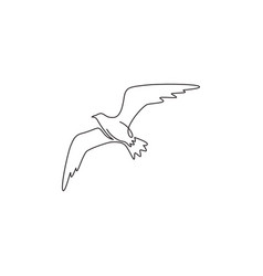single continuous line drawing elegant seagull vector image