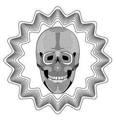 Smiling human skull on star shape background vector