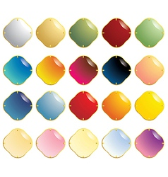 Smooth gemstones with gold fastener vector
