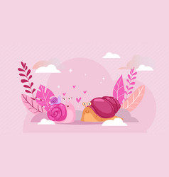 snail composition snail love happy heart spiral vector image
