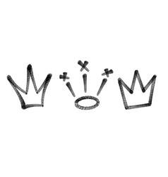 sprayed crown graffiti set in black over white vector image