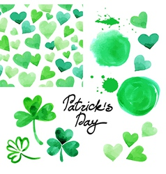 St Patricks day watercolor set vector