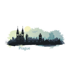 stylized landscape of prague with the main sights vector image