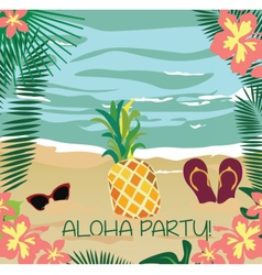 Summer Card with glasses and flipflops vector image