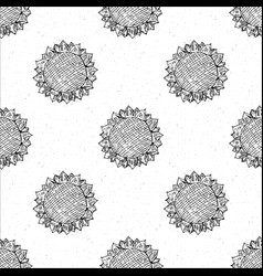 sunflower seamless pattern hand drawn sketch vector image