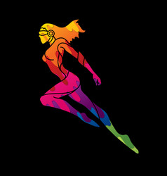 Superhero flying action cartoon superhero woman vector