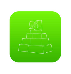 top sale sign on a podium icon green vector image