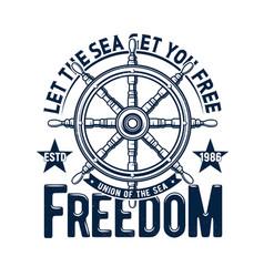 tshirt print ship steering wheel emblem vector image