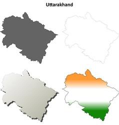 Uttarakhand blank detailed outline map set vector