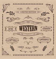 western frame hand drawn banners vintage badge vector image