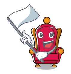 With flag king throne mascot cartoon vector