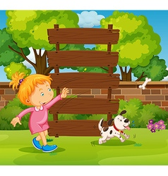 Wooden sign and girl in the park vector