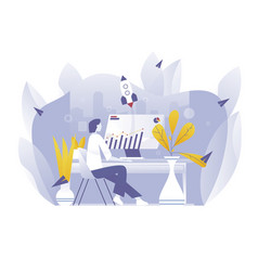 worker man using computer seo picture vector image