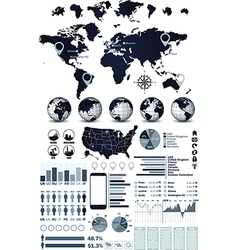 World map and globe infographic vector