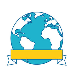 world planet with ribbon vector image