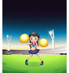 A young woman dancing at the soccer field vector