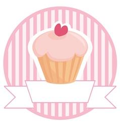 Cupcake button logo or wedding invitation card vector image vector image