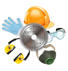 saw protective equipment vector image vector image