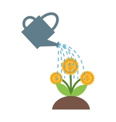 Watering flowers in garden centre nature plant vector image