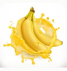 banana juice fresh fruit 3d icon vector image
