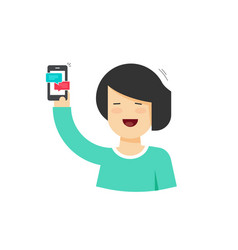 cartoon happy woman holding smartphone with vector image vector image