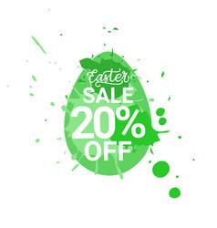 easter sale logo egg with green paint splash vector image
