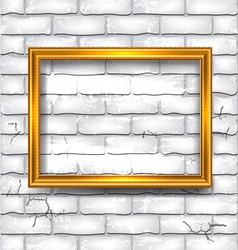Frame on the white brick wall vector image