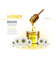 honey jar realistic mock up advertise vector image