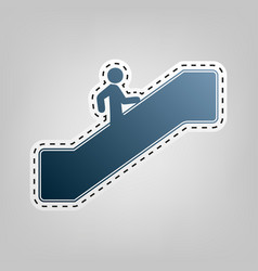 man on moving staircase going up blue vector image vector image