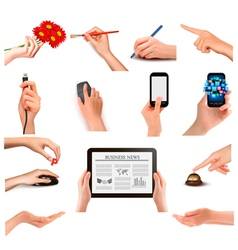 Set of hands holding different business objects vector image vector image