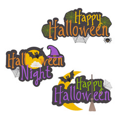 set of isolated halloween message design vector image vector image