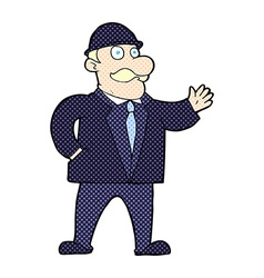 comic cartoon sensible business man in bowler hat vector image vector image
