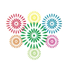 Fireworks colorful isolated on white background vector image vector image