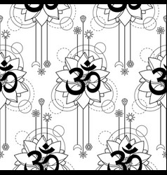 om and lotus tattoo seamless pattern vector image