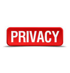 privacy red 3d square button isolated on white vector image vector image