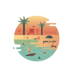 Beach icon with palm and people vector image vector image