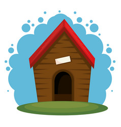 Cute dog house icon vector