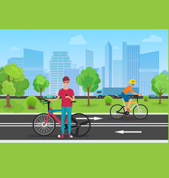 cyclists in the park man vector image vector image
