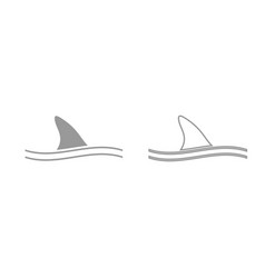fin of shark grey set icon vector image