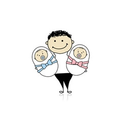 Happy father with newborn twins vector image