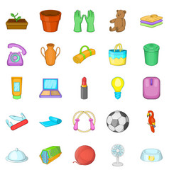 House things icons set cartoon style vector