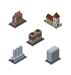 isometric construction set of chapel office vector image vector image