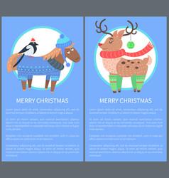 merry christmas postcard with horse bullfinch deer vector image
