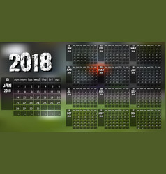 new year calendar 2018 vector image