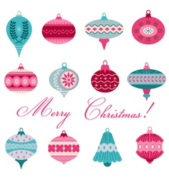 Set of Vintage Christmas Tree Balls vector image vector image