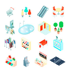 shopping mall isometric icons set vector image