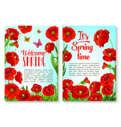 spring season floral greeting card template vector image vector image