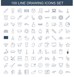 100 drawing icons vector image